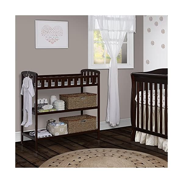"Dream On Me Emily Changing Table, Espresso Dream On Me 1 inch changing pad 5 1/2"""" safety rail.Dimensions  36.5L x 20W x 39H inches 2 shelves below; Weight:19.5lbs 5"