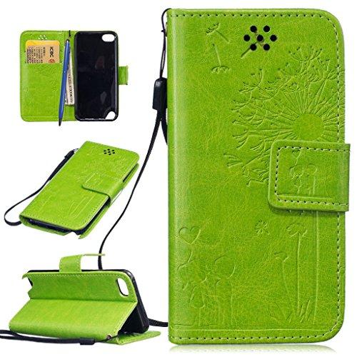 Touch Folio (CareyNoce iPod Touch 5G/6G Hülle,Löwenzahn Retro Painted Prägemuster Design PU Leder Wallet Case Folio Schutztasche HandyHülle für Apple iTouch 5 iTouch 6)