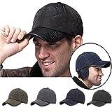 Baseballcap mit Ohrenklappen Wasserdicht Kappe Mütze Schirmmütze Ohrenschutz Basecap Wintercap Cap Wintermütze (Schwarz)