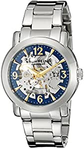 Stuhrling Original Delphi Canterbury Automatic Skeleton Men's Automatic Watch with Blue Dial Analogue Display and Silver Stainless Steel Bracelet 531G.33116