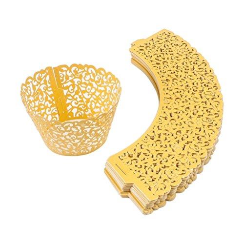 sungpunet 12piezas Cupcake soporte para Cup Cake Wrappers Torre de encaje papel decorativo decoración de pasteles suministros (oro amarillo)