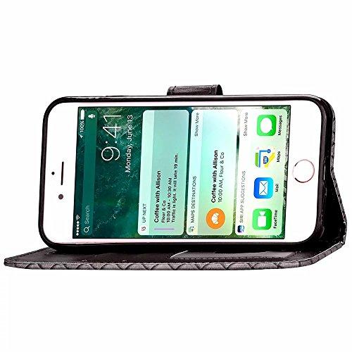 iPhone Case Cover IPhone 6S Plus 5.5 Pouces Case Mignon Dessin De Peinture Cartoon Motif Retro Portefeuille Horizontal Flip Stand Avec Lanyard Sangle De Main Card Cash Slots Pour IPhone 6S Plus 5.5 Po Black