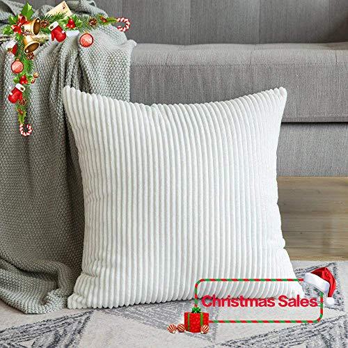 MIULEE Pana Suave Decorativa Cuadrado Juego Fundas de Almohada de Lanzamiento Cojín Caso para Sofá Dormitorio Auto 24 * 24 Pulgadas 60 x 60 cm Reines Weiß 1 Pieza