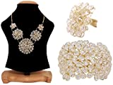 #8: Aabhu American Diamond crystal Studded Handmade Combo of Pendant Necklace Set With Bracelet And Ring Jewellery Combo For Women And Girl