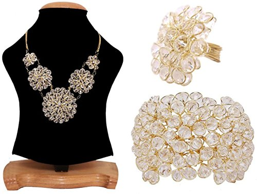 Aabhu American Diamond crystal Studded Handmade Combo of Pendant Necklace Set With Bracelet And Ring Jewellery Combo For Women And Girl