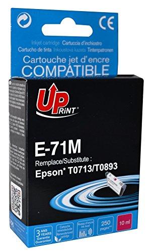 Cartouche compatible EPSON T0713/ T0893 - Magenta - marque : UPrint E-71M - Imprimantes : STYLUS D120 / STYLUS D78 / STYLUS D92 / STYLUS DX4000 / STYLUS DX4050 / STYLUS DX4400 / STYLUS DX4450 / STYLUS DX5000 / STYLUS DX5050 / STYLUS DX6000 / STYLUS DX6050 / STYLUS DX7000F / STYLUS DX7400 / STYLUS DX7450 / STYLUS DX8400 / STYLUS DX8450 / STYLUS