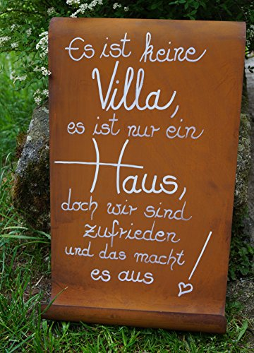 Edelrost Tafel mit Welle Spruch Villa Eingang Gartendekoration