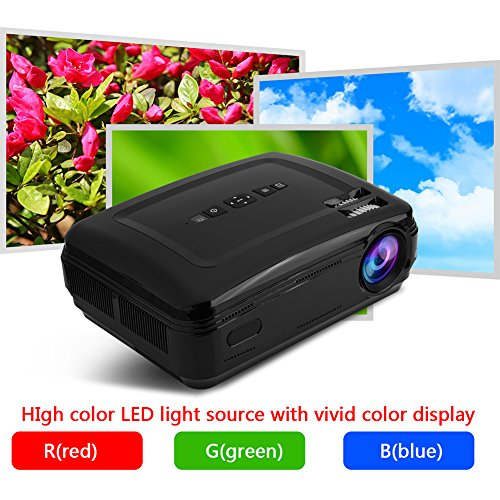 Zerone 1080P HD LED Projector for Home and Office Support TV AV VGA USB HDMI Y Pb Pr Black