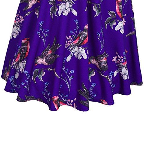 MAOMAO 1950s Audrey Rockabilly Robe de Cocktail Rétro Imprimée Sans Manche Bleu