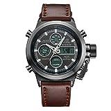 Reloj, reloj analógico deportivo digital para hombre reloj impermeable, reloj multifuncional LED reloj de cuero marrón fecha alarma