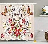 Bobbie McLendon Rideau de Douche Floral, Papillons et Floraison tourbillonnée de Fleurs Bouquet Image botanique, décor de Salle de Bain en Tissu de Tissu sertie de Crochets