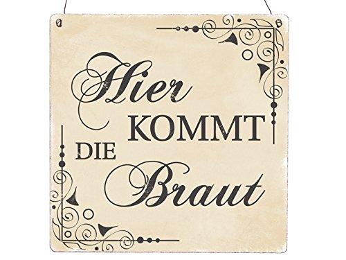 XL Holzschild HIER KOMMT DIE BRAUT * BEIGE * Vintage INTERLUXE Hochzeit Shabby Geschenk (Die Hier Braut Kommt)