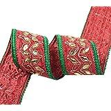 franja roja frontera sari cinta bordada floral 4,0 cm de ancho de equipamiento por el patio