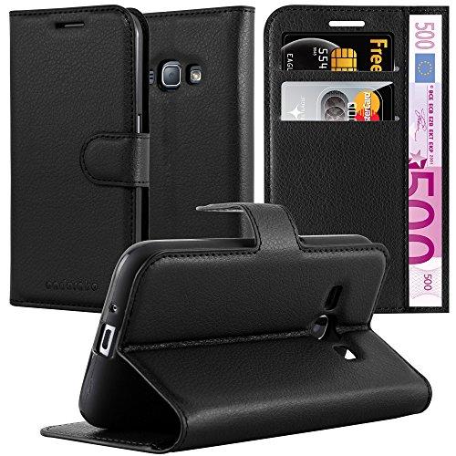 Cadorabo Hülle für Samsung Galaxy J1 2016 (6) - Hülle in Phantom SCHWARZ - Handyhülle mit Kartenfach & Standfunktion - Case Cover Schutzhülle Etui Tasche Book Klapp Style