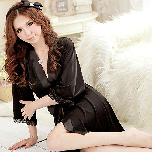 lpkone-Lingerie sexy women's v-cou Chemise dentelle peignoir accueil services ,Black Black
