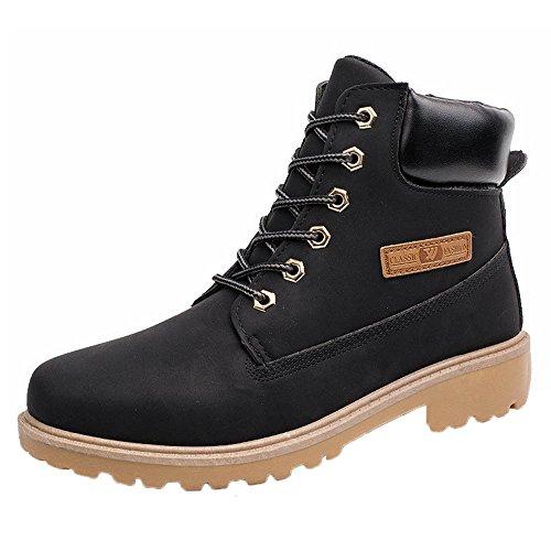 Stiefel Herren Btruely Männer Martens Stiefel Freizeitschuhe Hoch oben Schuhe Junge Wanderstiefel Warm Schuhe Sneakers Winter (42, Schwarz)