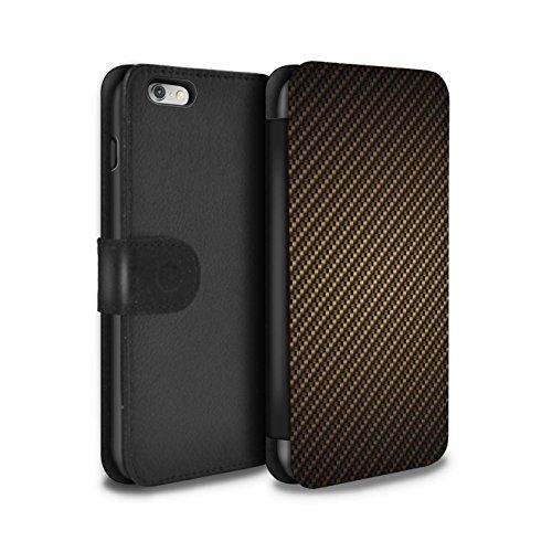 STUFF4 PU-Leder Hülle/Case/Tasche/Cover für Apple iPhone 6+/Plus 5.5 / Gold Muster / Kohlenstoff-Faser-Muster Kollektion (Plus Fall Kohlenstoff-faser 6 Iphone)