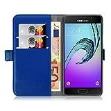 JAMMYLIZARD Lederhülle für Samsung Galaxy A3 (6) 2016 | Handyhülle Book Case Tasche [ Luxuriöse Series ] Ledertasche Flip Cover Hülle Leder Schutzhülle mit Kartenfach, Blau