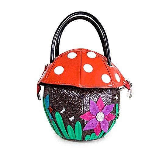 Pilz PU Tasche Leder Kleine Haus Farbe Runde Handtasche Patent Frauen Tragbare Schulter (Geldbörsen Für Große Verkauf)