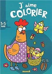 J'aime colorier (3-5 ans) (poule avec panier)