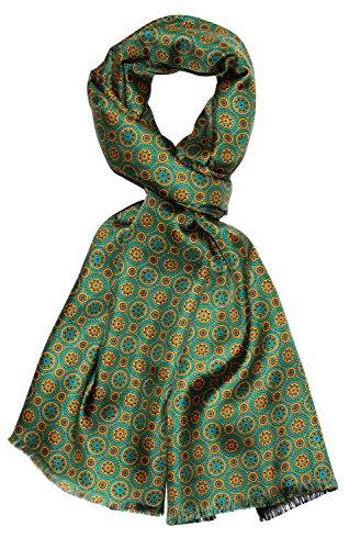 LORENZO CANA - Luxus Herrenschal Wendeschal harmonische Farben - Vorderseite bedruckte Seide - Rückseite gewebte Wolle - 30 x 160 cm