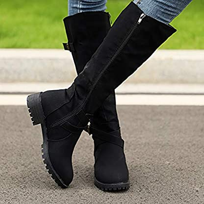 BANAA Womens Over The Knee Boots, Knee High Shoes Calf Biker Boots Ladies Zip Punk Shoes Combat Army Boots Plus Size Shoes Boots 5