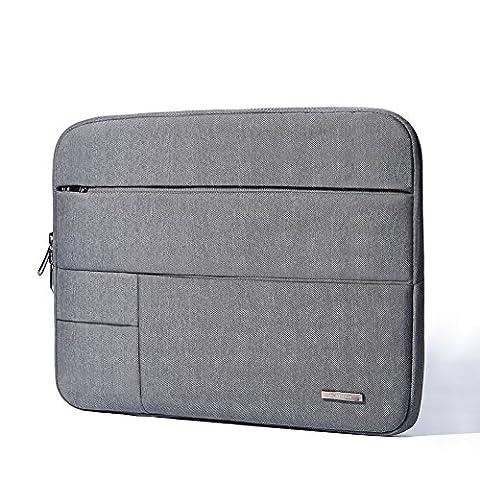 Kalidi Laptop Sleeve Sac Coque Malette résistant à l'eau avec fermeture éclair pour ordinateur portable 13–33,8cm ordinateur tablette Surface Pro 3/ultrabook/Chromebook/MacBook Pro/MacBook Air/ordinateur portable Deep Grey