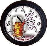 Lucky Clocks BIERUHR KEIN BIER VOR VIER 4 MASS GEBURTSTAG lustige und originelle Wanduhr für Bierfans und Biertrinker Bierliebhaber für jeden Anlass neutral