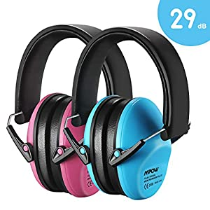 Mpow 2 Packs Kids Ear Defenders, SNR 29dB Noise Reduction Ear Muffs, Toddler Safety Ear Protection for Kids Hearing Protection, Studying, Firework, Gardening, Car Race, Bonus Carrying Bags-Pink&Blue