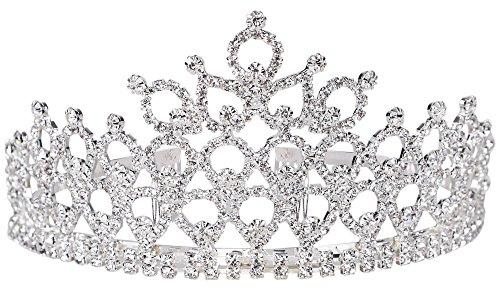 7703_heart Shape Flower : Simplicity® Women's Prom Queen Crystal Rhinestones Crown Tiara