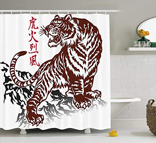 ADAM MARTINEZ JR Tattoo Decor Shower Curtain, Wild Chinese Tiger with Stripes and Roaring While Its Paws on The Rock, Fabric Bathroom Decor Set with Hooks, 84 inches Extra Long, Maroon and White