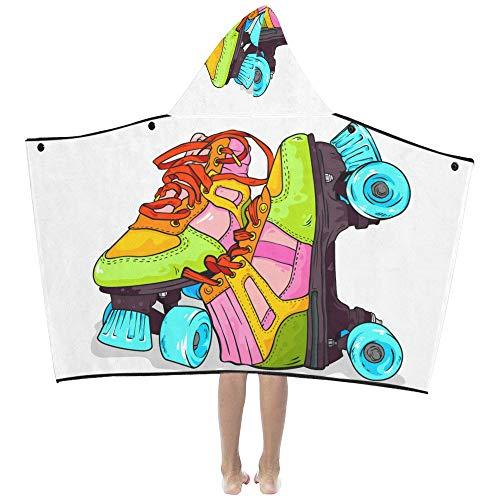 Skate Schuhe Flanell (Sport Rollschuh Schuhe weiche warme Kinder verkleiden sich mit Kapuze tragbare Decke Badetücher werfen Wrap für Kleinkinder Kind Mädchen junge Größe nach Hause Reise Picknick Schlaf Geschenk)