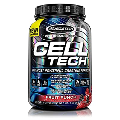 MuscleTech CellTech Creatine Powder, Micronized Creatine, Creatine HCl, Fruit Punch, 1.4kg by CHJUK