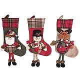 Zhou Yunshan Weihnachtsdekoration für Zuhause Weihnachtsstrumpf Plaid Leinen Stereo Socken Geschenk Tasche Kamin Dekoration Ornamente Candy Socken Dekorative Geschenke für Weihnachtsfeier Frohe Wei