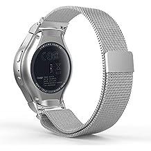 Samsung Gear S2 Sport Bracelet, MoKo Watch Band Milanais en acier inoxydable avec Fermeture Magnétique pour Samsung Gear S2 Sport Montre connectée, Argent