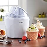 VonShef 13/049 Ice Cream Maker with 2-Waffle Cone Bowls, 1.5 Litre, White