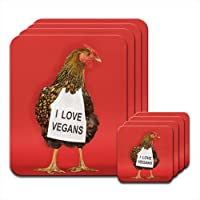 Chicken with Sign I Love Vegans Set of 4 Placemat & Coasters