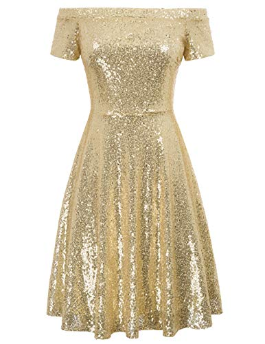 GRACE KARIN Vintage Woman Dress Anni '50 per Party Cocktail Gold XL CL010891-1