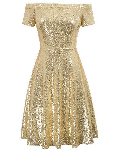 GRACE KARIN Schulterfreies Kleid Gold Abendkleider elegant für Hochzeit Damen Linie Kleid CL891-1 2XL (Weihnachten Gold Kleider)