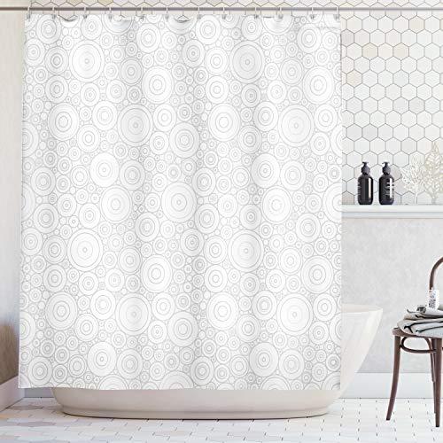 ABAKUHAUS Duschvorhang, Symbolistisch Minimalistisches Muster in Beigen Silber Schnee Farben Gekreiselt Druck, Blickdicht aus Stoff inkl. 12 Ringe für Das Badezimmer Waschbar, 175 X 200 cm -