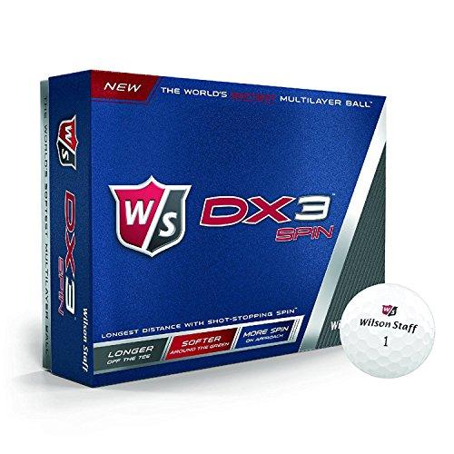 Wilson Staff WGWP39200, Homme Balle de Golf Souple en 3 Pièces pour une distance maximale, Boîte de 12, Niveau Avancé, Compression 55, Uréthane, Tour Spin, Dx3, Blanc