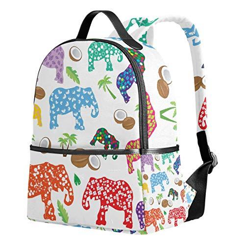 Mochila Ahomy para niñas, Colorida Elefantes Verano Tropicales árboles de Coco Mochila...