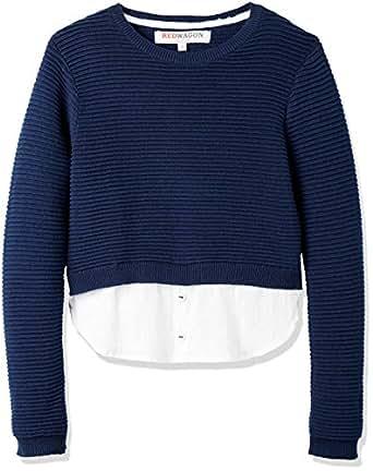 RED WAGON Pullover con Inserto a Camicia Bambina, Blu (Navy/White), 104 (Taglia Produttore: 4 Anni)