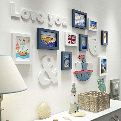 Unbekannt Global- 9 Multi Bilderrahmen Set Kiefer Holz Blau und Weiß Moderne Wand Foto Bild Wandrahmen für Wohnzimmer für Kinder/mit Bildern/Meer Thema (Farbe : Blau+Weiß) (Und Weiß Blau Thema)