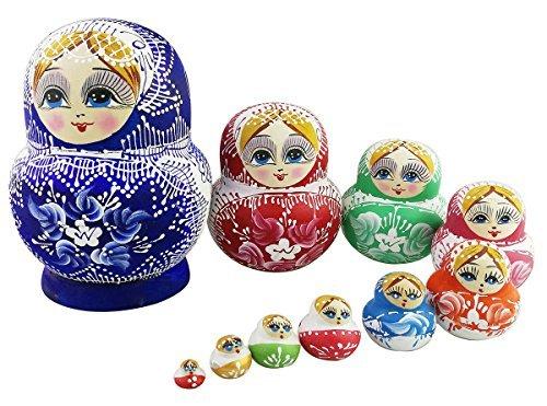 10Stück Multicolor Chubby Stapeln Spielzeug russischen Puppe handgefertigt Spielzeug aus Holz für Kinder Kinderzimmer Decor (Br-baby-puppe)