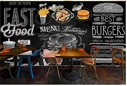 Wandtapete Stilvolle Tafel Handgezeichnete West Fast Food Catering Hintergrund Wand Wohnkultur Wandmalerei,350Cmx245Cm - Fast-food-catering