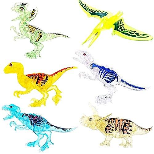 JZK 2 grande tiranosaurio dinosaurio & 8 pequeña dinosaurio de juguete bloques movibles juguetes mini figuras para niños fiesta favores, niño no tóxico seguro