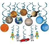 Konsait Système Solaire Anniversaire Suspendus Tourbillons Guirlandes Hanging Swirl pour Bébé Garçon Filles Enfants d'anniversaire Fête Chambre Decoration de Plafond (14 Pcs)
