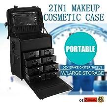Autovictoria 2 En 1 Makeup Rolling Trolley De Nylon Negro Profesional Carretilla De Maquillaje Rodante Con