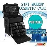 Autovictoria 2 En 1 Makeup Rolling Trolley De Nylon Negro Profesional Carretilla De Maquillaje Rodante Con Varios Compartimentos y Manija De Elevación Para Maletas De Viaje